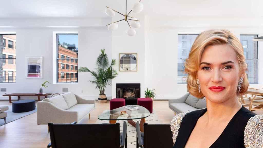 Kate Winslet, en su ático en Nueva York, en un fotomontaje de JALEOS.