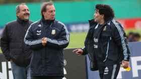 Bilardo y Maradona en 2009 en la selección argentina