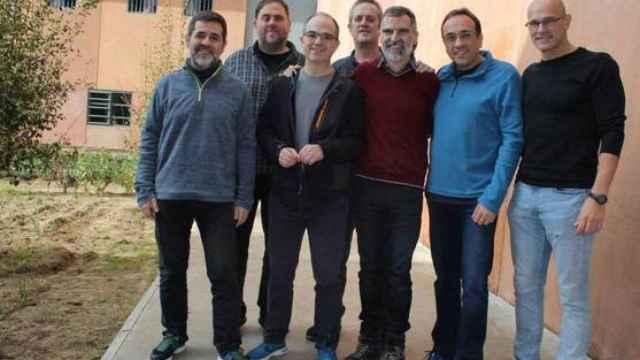 Los siete dirigentes independentistas presos en la cárcel de Lledoners.