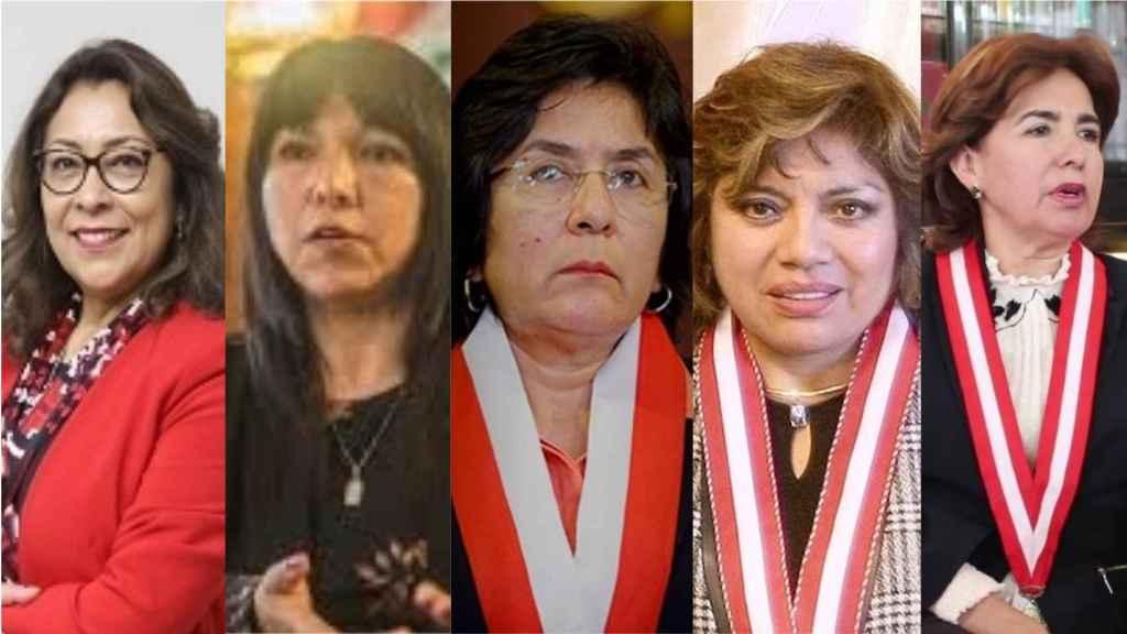 De izda a dcha: la presidenta del Gobierno, la del Congreso, la del Tribunal Constitucional, la fiscal general y la presidenta del Poder Judicial en Perú.