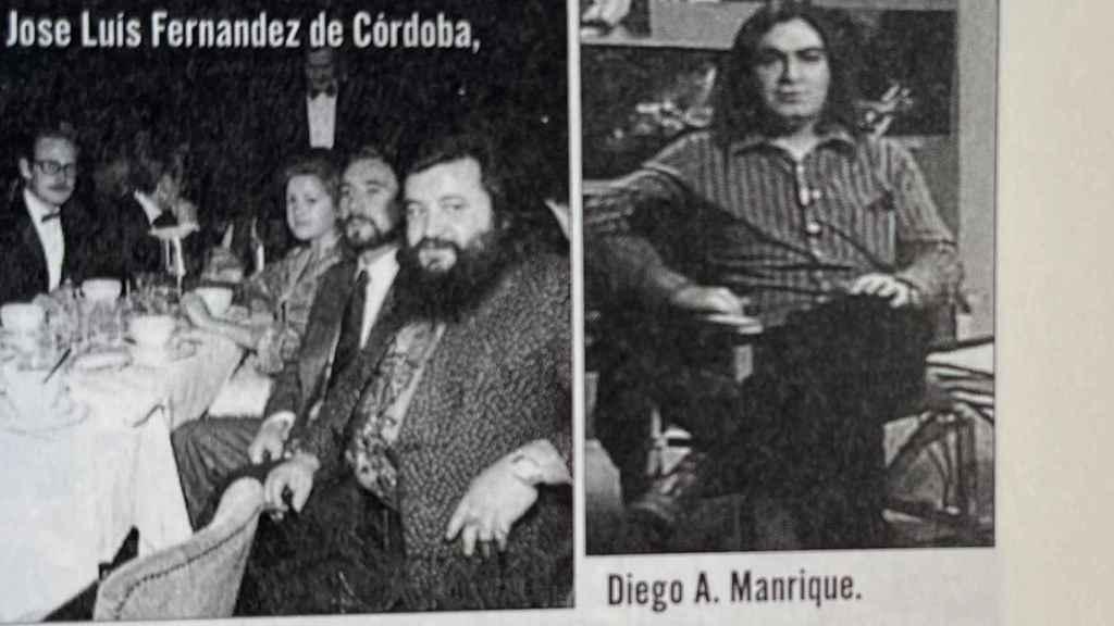 Diego A. Manrique (derecha), cuando aún vivía en Burgos, en el libro.
