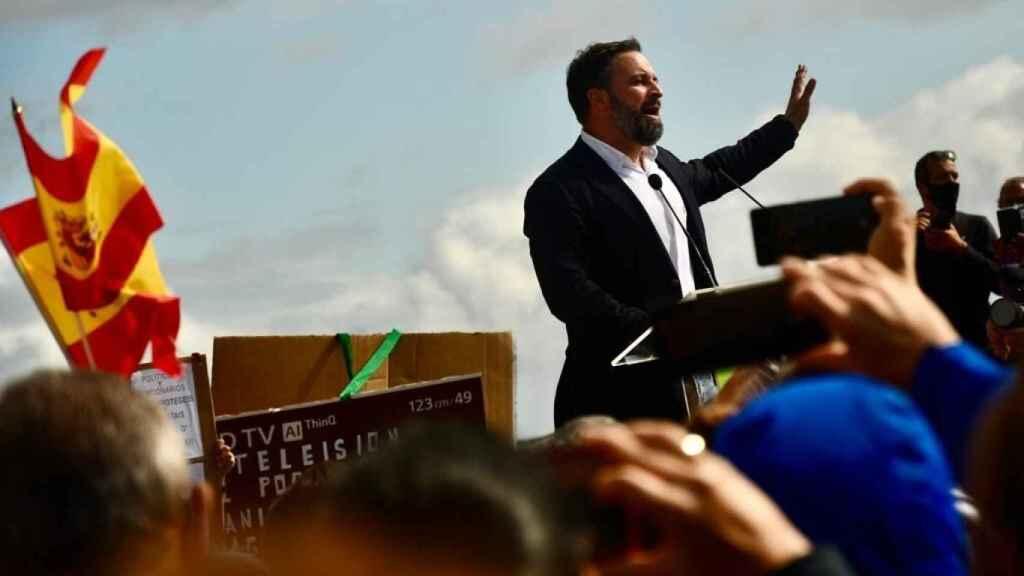 El presidente de Vox, Santiago Abascal, en un acto en Gran Canaria este viernes.