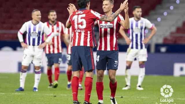 Marcos Llorente celebra su tanto ante el Valladolid