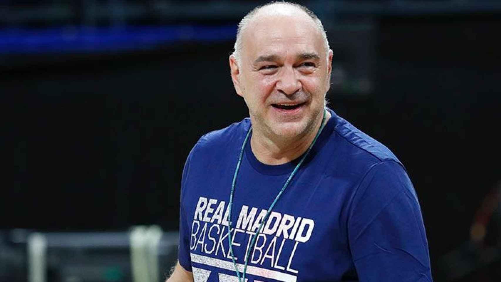 Pablo Laso, en un entrenamiento del Real Madrid de Baloncesto