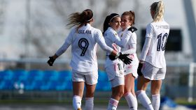 El Real Madrid Femenino celebra un gol contra el Sevilla Femenino