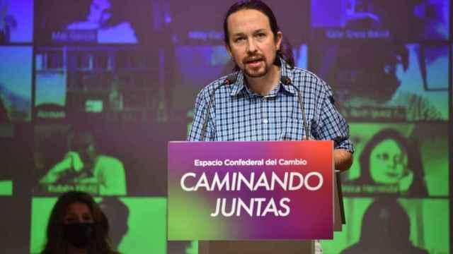 Pablo Iglesias este sábado en el Consejo Confederal de Unidas Podemos.
