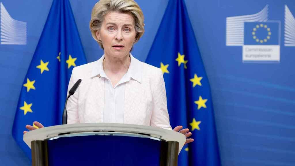 La presidenta Ursula von der Leyen, durante su comparecencia de este sábado