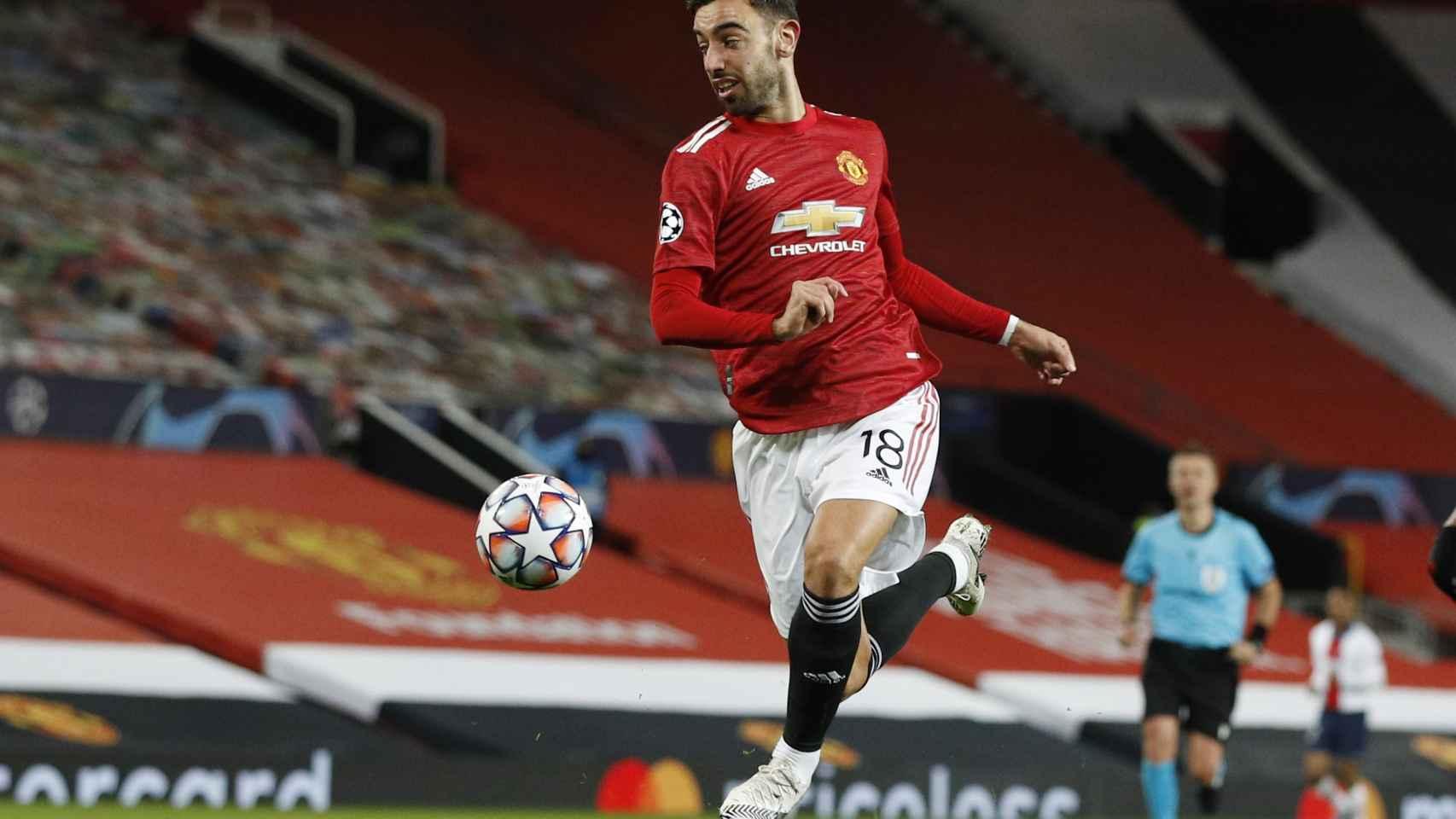 Bruno Fernandes, durante un partido con el Manchester United