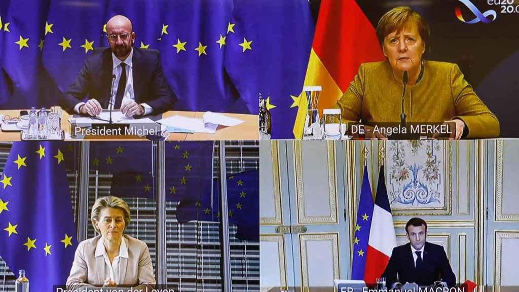 Charles Michel, Angela Merkel, Ursula von der Leyen y Emmanuel Macron, durante la videoconferencia de este lunes
