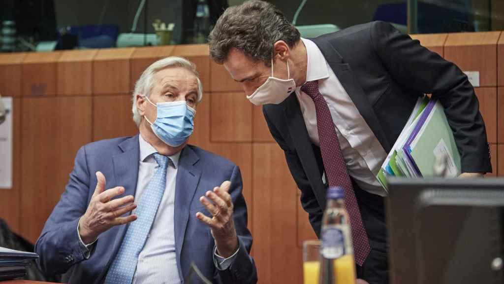 Michel Barnier, durante su comparencia de este lunes ante los embajadores de los 27