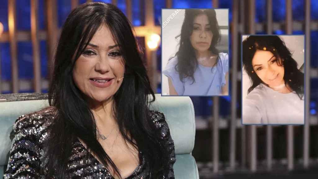 Maite Galdeano junto a dos vídeos que se ha grabado desde el hospital.