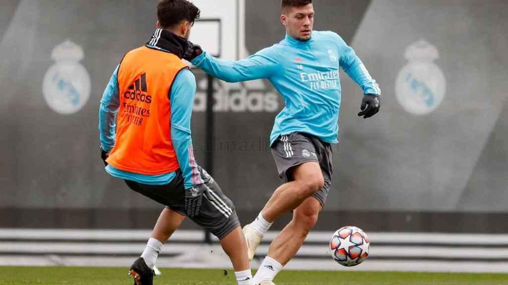 Luka Jovic, en un entrenamiento del Real Madrid