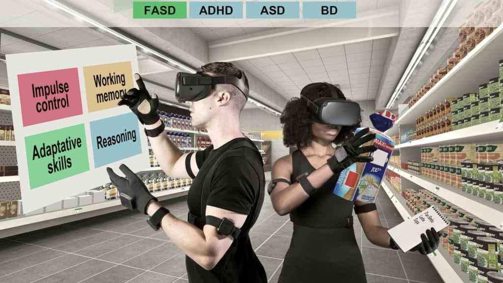 Dos personas prueban la herramienta virtual de Mental XR.