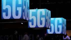 Logos de 5G durante el último Mobile World Congress de Barcelona.