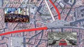 En Madrid, las autoridades se vieron obligadas a cortar varias calles del centro y cerrar el metro.