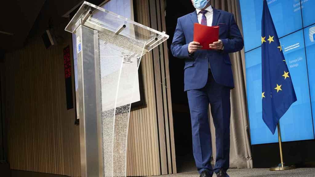 El vicepresidente de la Comisión, Maros Sefcovic, durante la rueda de prensa de este martes