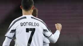 Puño arriba de Cristiano Ronaldo tras su gol al Barcelona