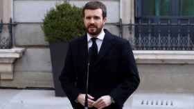 Pablo Casado, presidente del PP, a su llegada al Congreso de los Diputados.