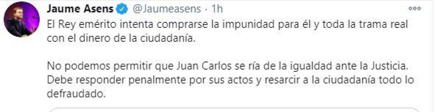 Tuit de Jaume Asens./