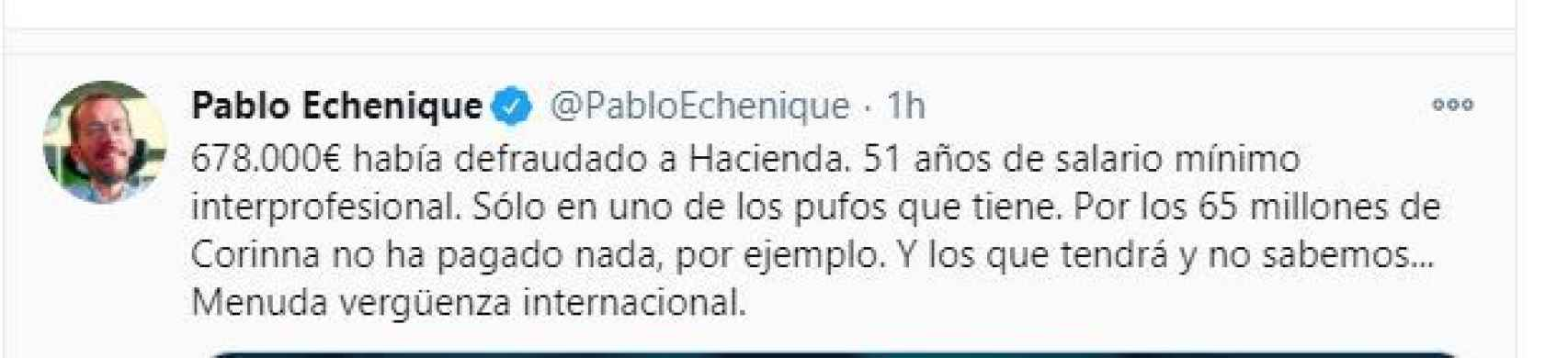 Tuit de Pablo Echenique./