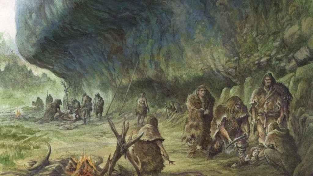 Reconstrucción del entierro del niño por los neandertales en La Ferrassie.