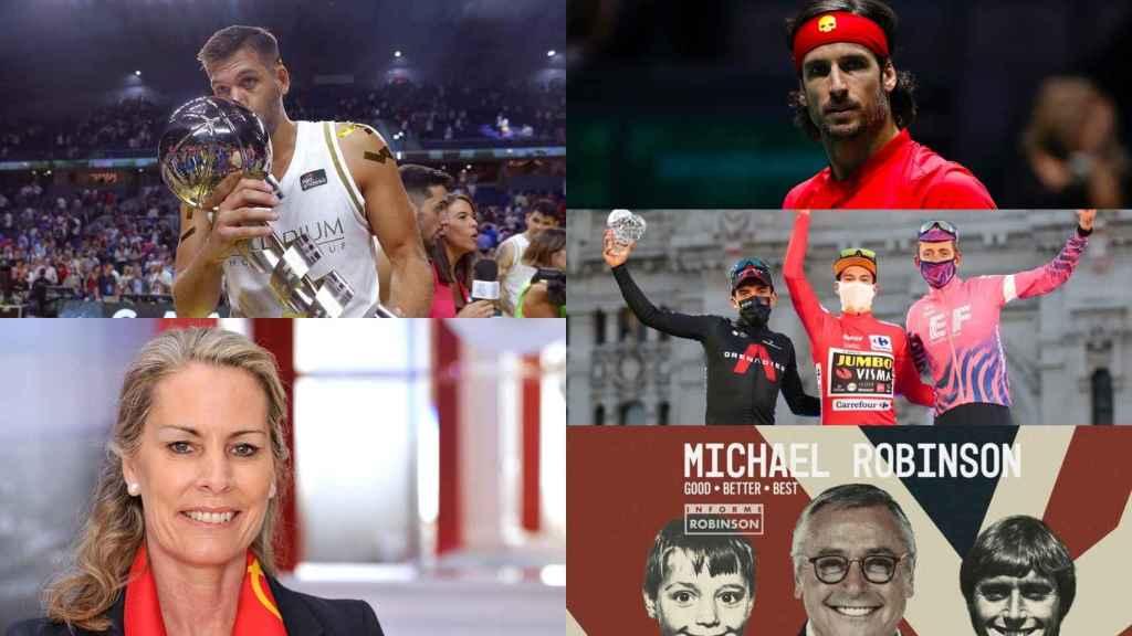 Felipe Reyes, Theresa Zabell, Feliciano López, el podio de La Vuelta 2020 y el último Informe Robinson, en un fotomontaje de premiados en la VII edición de los Premios María de Villota y Ciudad de la Raqueta