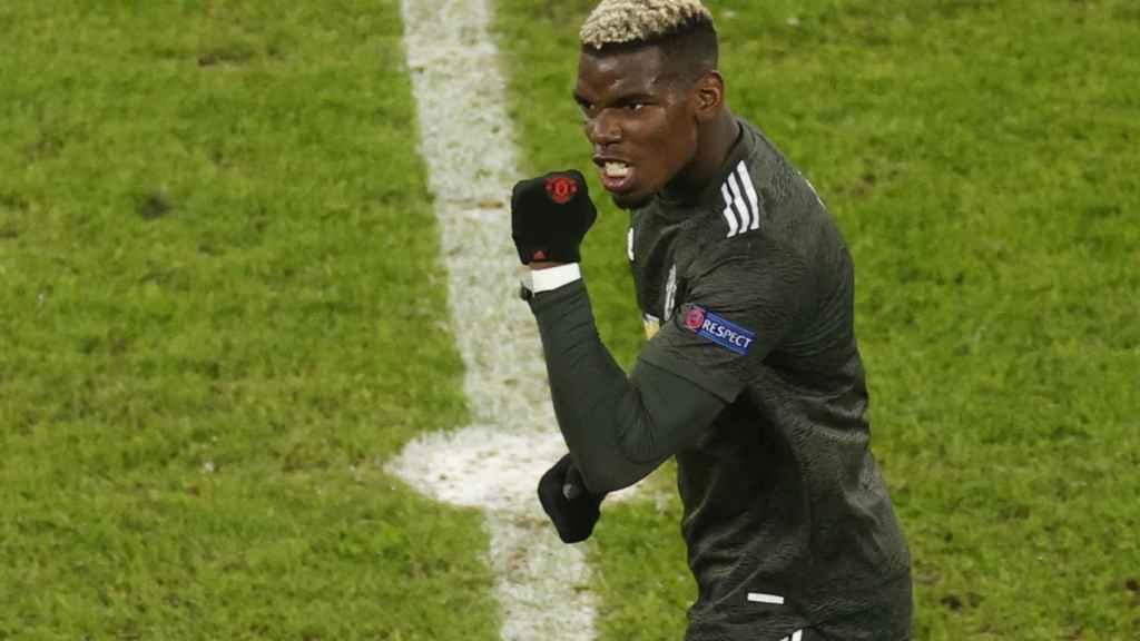 Paul Pogba celebra un gol con el Manchester United en la Champions League