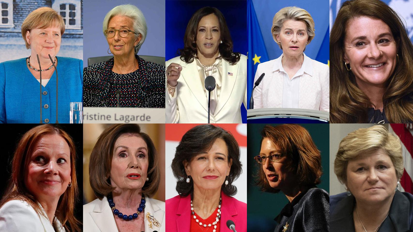 De izqda a dcha: Merkel, Lagarde, Harris, Von der Leyen, Gates, Barra, Pelosi, Botin, Johnson y Boudreaux.