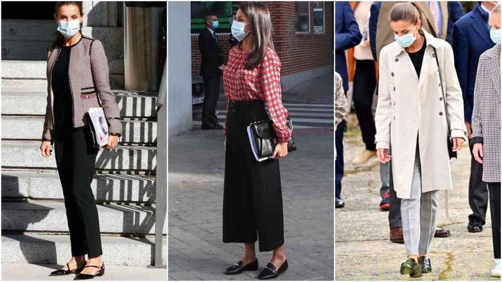 La reina Letizia en tres actos institucionales con tres tipos de zapato plano.