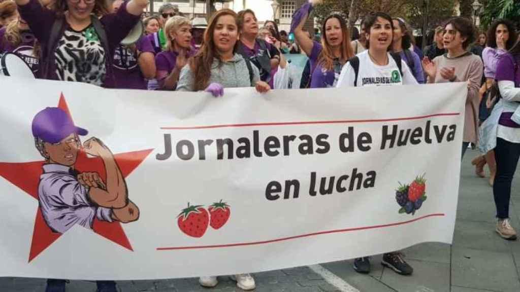 Un acto reivindicativo del colectivo Jornaleras de Huelva en Lucha.