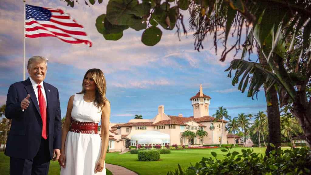 Donald Trump y Melania, junto a su casa en Mar-a-Lago, en un fotomontaje de JALEOS.