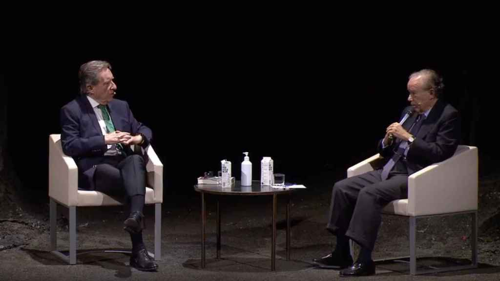 Iñaki Gabilondo y Gregorio Marañón durante su charla.