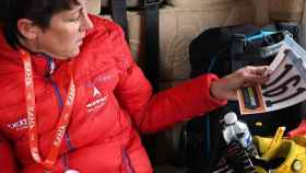 Cherie Pridham antes de una carrera con el Raleigh