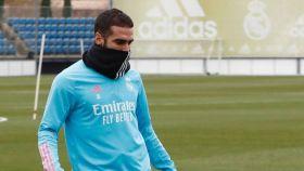 Dani Carvajal, durante un entrenamiento del Real Madrid
