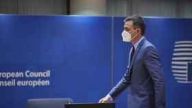 El presidente del Gobierno, Pedro Sánchez, durante el Consejo Europeo de este jueves