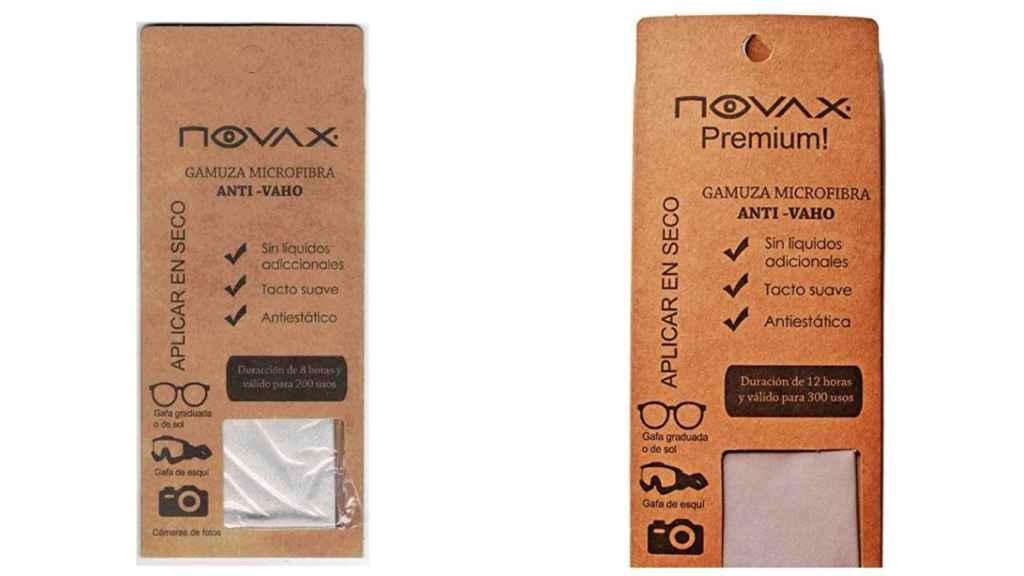 Las gamuzas antivaho de Novax. A la izquierda, la versión que cuesta 8,65 euros y, a la derecha, la que cuesta 14,50 euros.