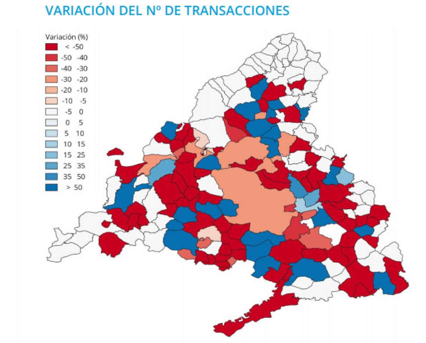 Variación de las transacciones de vivienda nueva en la Comunidad de Madrid.