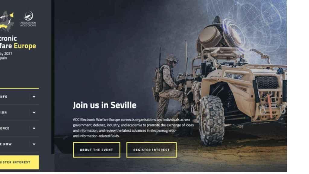 Página web de la feria que se iba a celebrar en Sevilla sobre guerra electrónica.