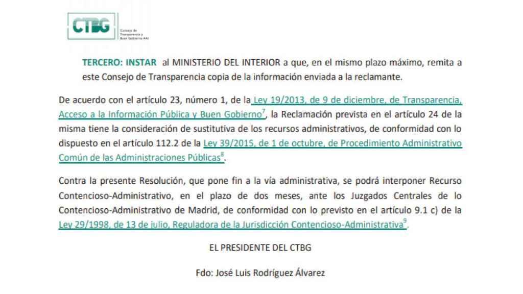 Extracto de la resolución de Transparencia sobre el caso de Nieto.