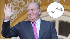 Juan Carlos I junto a su firma con la que ha felicitado la Navidad a los españoles.