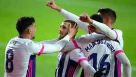 El Valladolid celebra un gol ante Osasuna