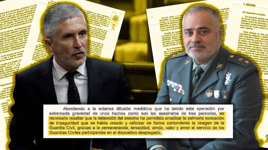 El ministro Fernando Grande-Marlaska y el general de brigada jefe de la Guardia Civil en Aragón, Carlos Crespo.