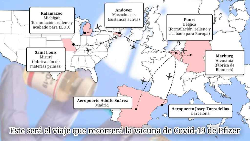 El recorrido que hará la vacuna de Pfizer hasta llegar a España.