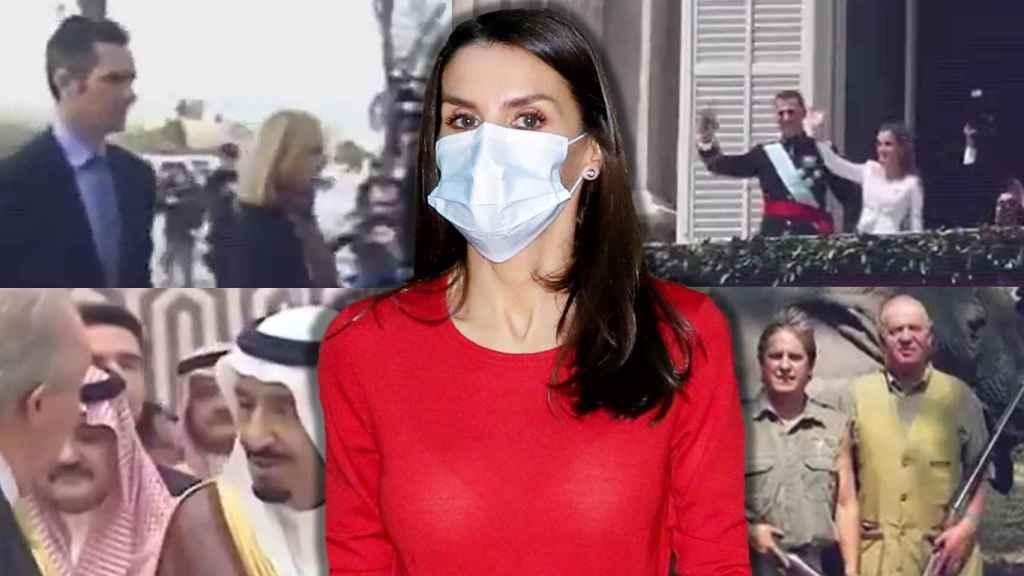 Letizia, con semblante serio, durante la reunión de este viernes. De fondo, fotogramas del vídeo publicado por Podemos.