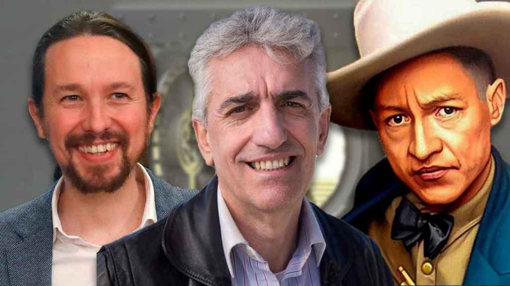 De izquierda a derecha: el líder de Podemos en Madrid Luis Nieto, Pablo Iglesias y el revolucionario nicaragüense Augusto César Sandino.
