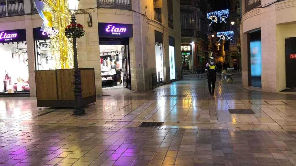 La calle Larios vacía