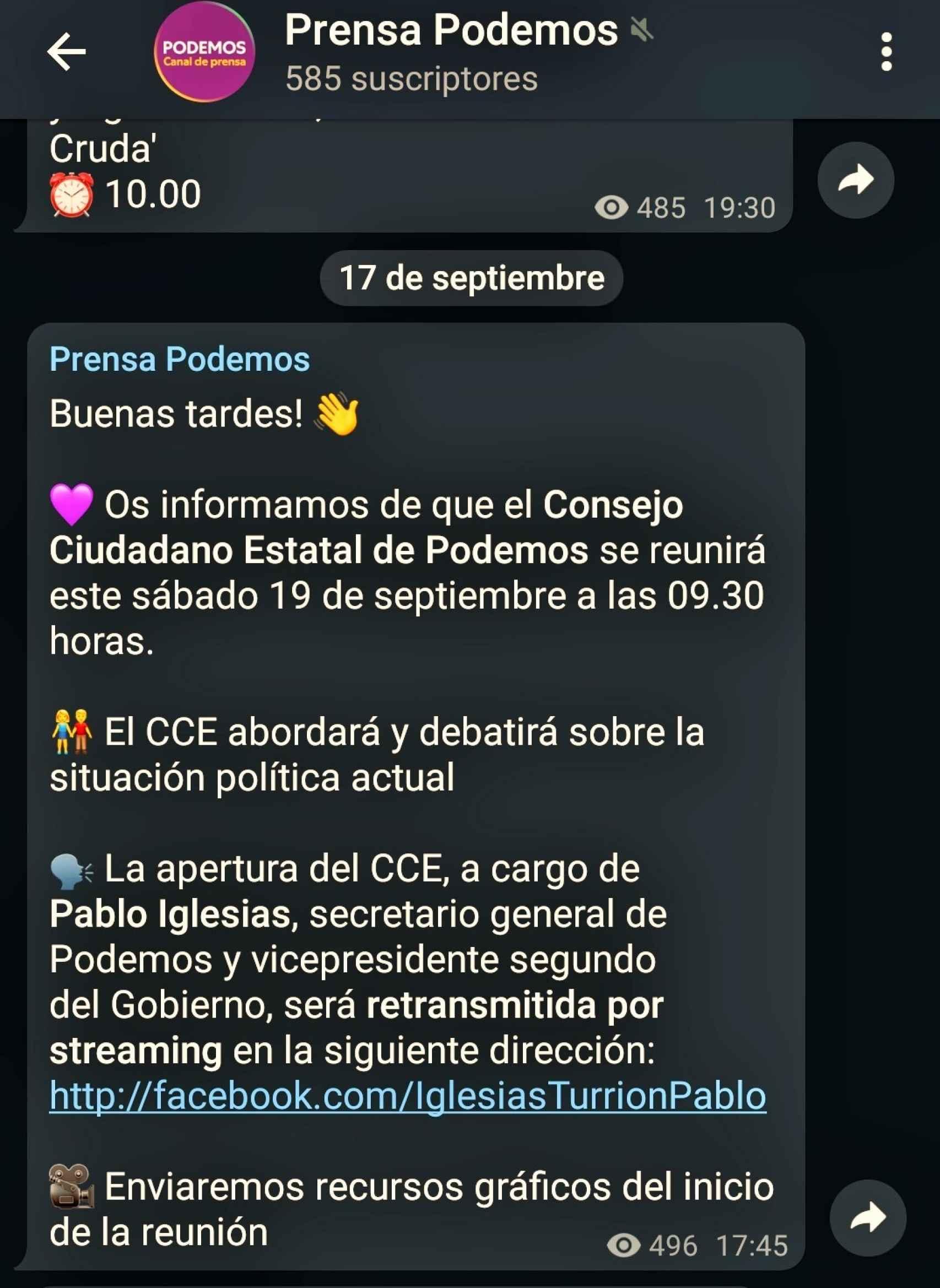 Convocatoria de prensa Consejo Ciudadano Estatal Podemos.
