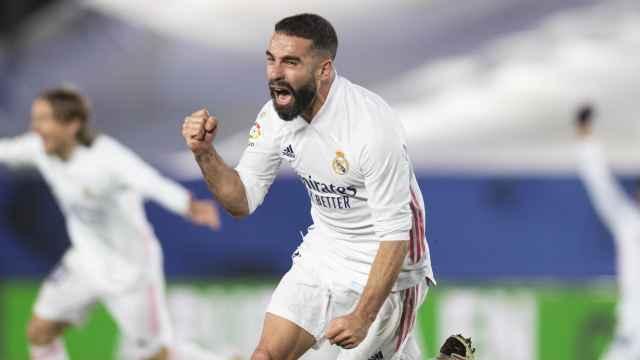 Dani Carvajal celebra su gol ante el Atlético de Madrid