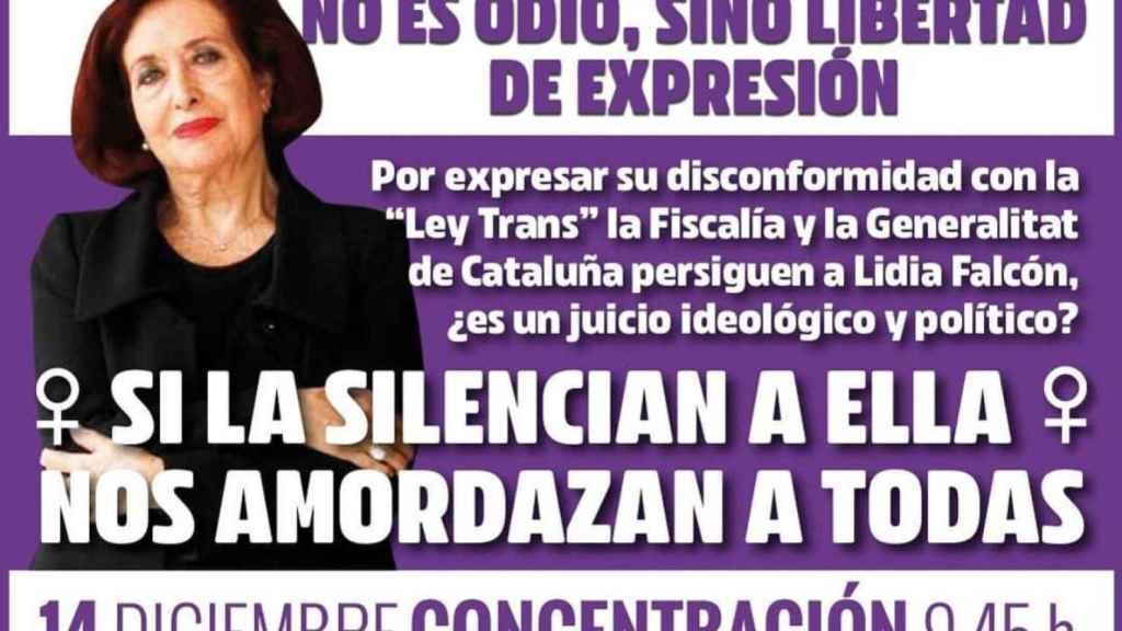 Cartel de apoyo a Lidia Falcón.