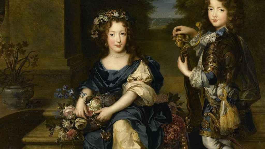Luis, el conde Vermandois, en compañía de su hermana Mademoiselle de Blois.